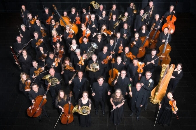 Orchestra ensemble photographed from above